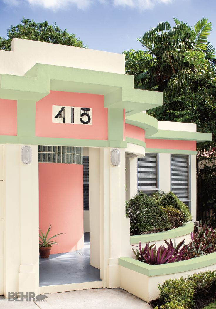 Enhance your home's Southwestern architecture by trying colors in BEHR paint like Bit of Sugar, Peach Mimosa, and Chameleon Skin. Then, choose art decor house numbers for a unique flair to your curb appeal.