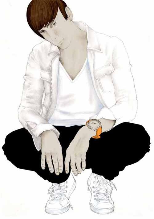 Illustration mode portrait homme accroupi Florence Gendre