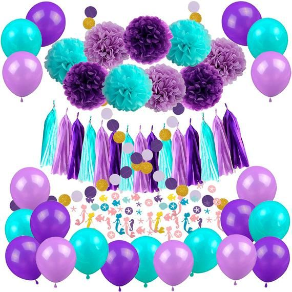 Mermaid Party Decorations//Under the Sea Party Teal Lavender Purple Tissue Paper Pom Poms Paper Lanterns for Birthday Decor Baby Shower Decoration
