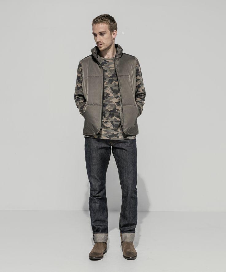 Waterproof Taffeta Twill Puffer Vest (Olive) Camo Loopback Sweatshirt (Olive) Premium Selvedge Straight Leg (24 Dip Dark Indigo - Raw)