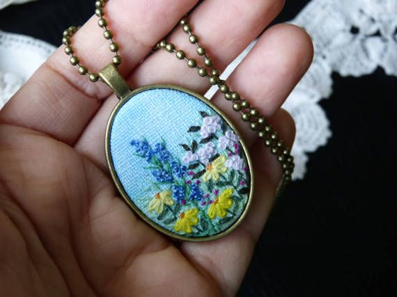 Wildflowers necklace hand embroidered pendant needlework