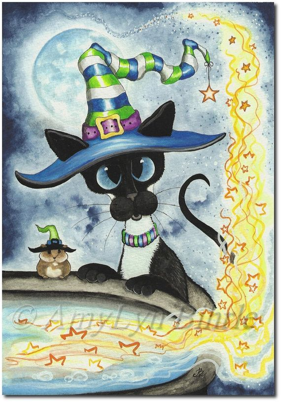 Title: Kitty Cat Cauldron | All images © AmyLyn Bihrle www.amylyn-bihrle.com All rights reserved. These images or any portion thereof may not be reproduced or used in any manner.| Siamese Series #301 | #arts #halloween #occasionprints occasionallygifts #cats