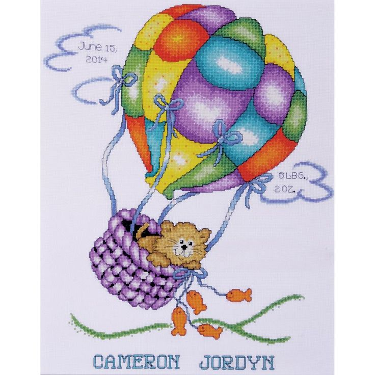 "Balloon Cat Birth Record Counted Cross Stitch Kit-11""X14"" 18 Count"