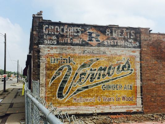 Amazingly well preserved Vernors sign revealed after razing the neighboring building