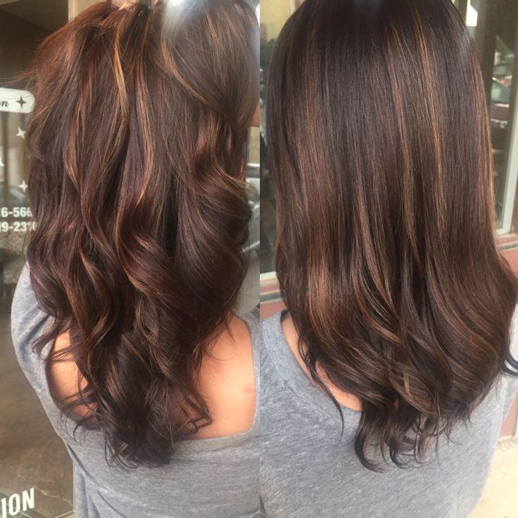 Dark brown balayage color correction