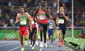 David Rudisha stormed down the home straight to win his second men's 800m Olympic title.