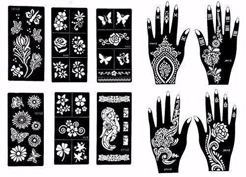 Henna Tattoo Kit Set Black Natural Stencils Applicator Art Body Temporary Design #GildedGirl