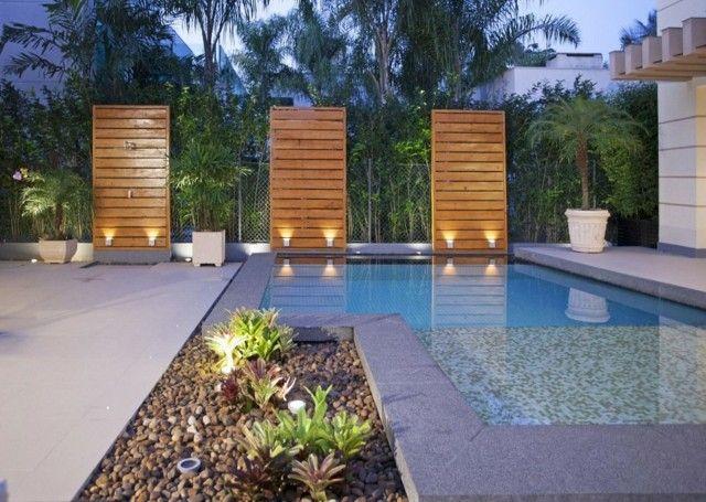 Moderner Garten Terrasse Pool Beleuchtung