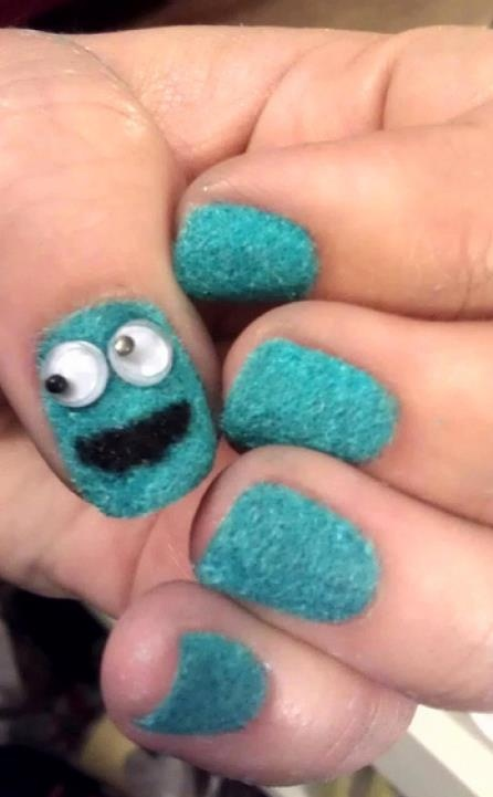 Cookie Monster Nails  Really cute, but I would hate actually wearing these. I would pick at them...