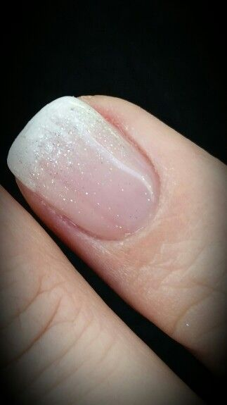 French tip faded white with glitter