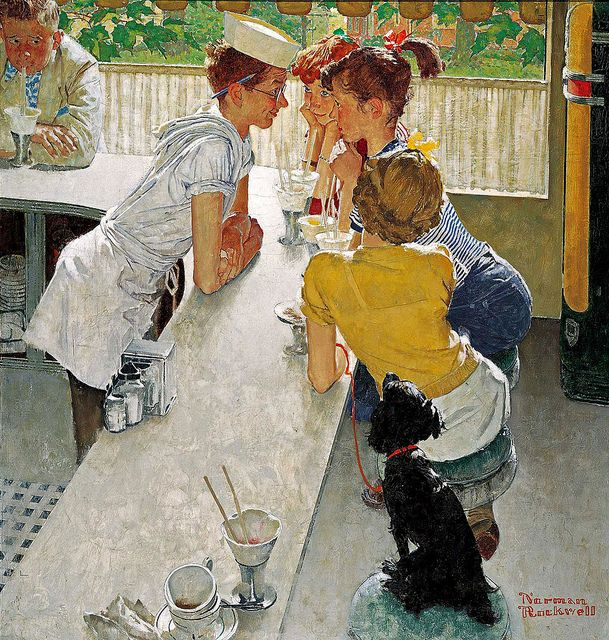 Norman Rockwell. I remember this from when I was younger and Norman Rockwell's pieces were put into a calendar. Always been a favorite piece of mine.