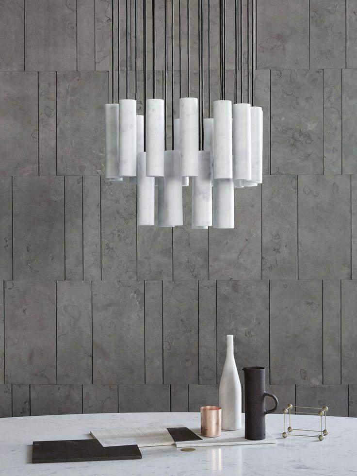 Pietra d'Avola Tratti and Silo Ceiling Light