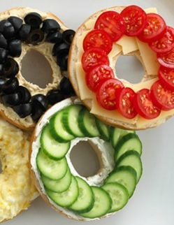Olympic Rings bagel pizzas. Not quite what's in the picture, but a fun Olympic watching treat.