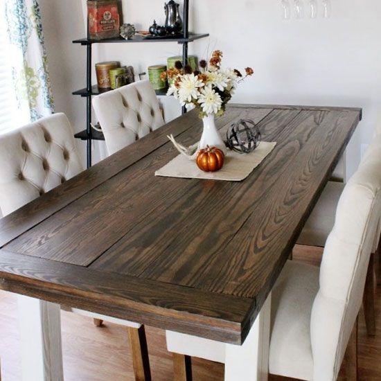 Do it yourself farmhouse style dining room table diy for Farm style kitchen table