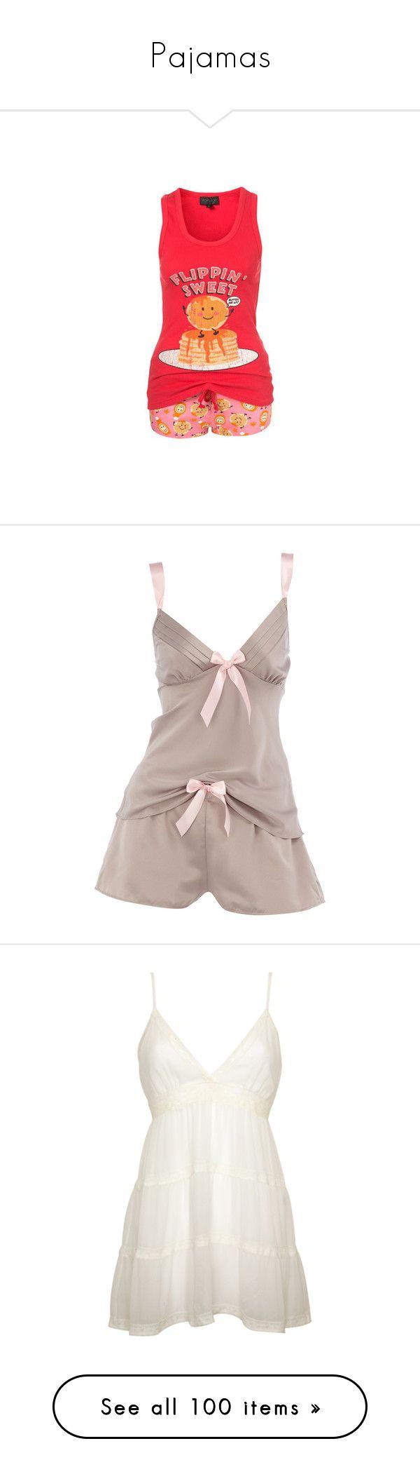 """""""Pajamas"""" by babygirl61797 ❤ liked on Polyvore featuring pajamas, pijamas, sleepwear, pyjamas, intimates, lingerie, underwear, women, bow lingerie and satin pyjamas"""