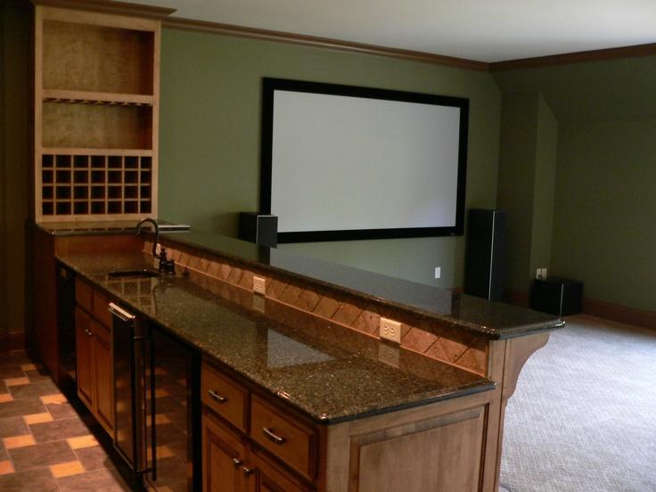inspiration for kitchen/bar/large screen tv area for garage loft: Racks Idea, S'More Bar, Great Idea, Kitchens Bar Large Screens, Dream House, Good Idea, House Idea, Bar Idea, Bonus Bar