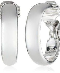 Anne-Klein-Classics-Silver-Tone-Medium-Hoop-Clip-On-Earrings-0