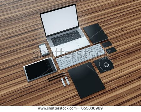Computer, laptop, digital tablet, mobile phone, virtual headset and newspaper on wooden table. IT concept .