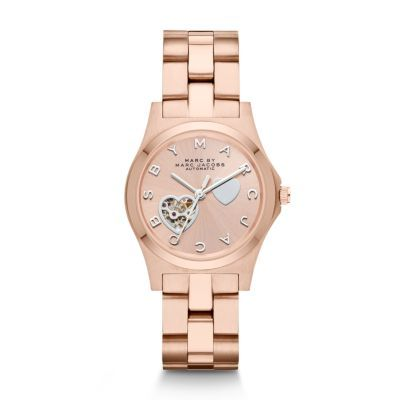 Sale 	 	Henry Midsized Icon Automatic Heart Dial Watch Merging whimsical spirit and geometric design with functionality, this rose gold-tone stainless steel Henry automatic watch features a sunray dial accented with iconic stainless steel hearts and signature logo markers.