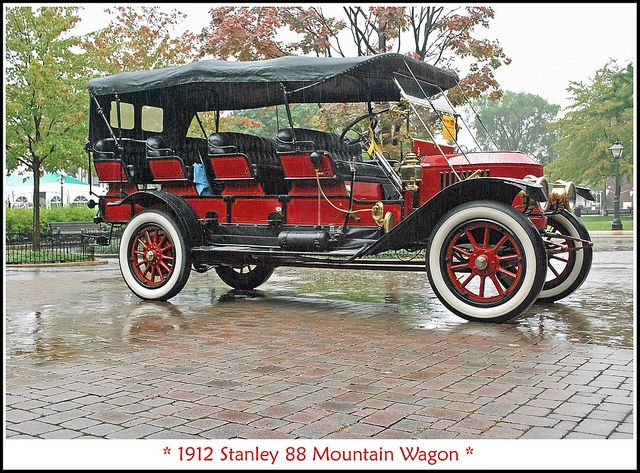 1912 Stanley Steamer 88 Mountain Wagon. Stanley Steamers were made from 1902-1924 in Newton, Massachusetts. They had power,efficiency and didn't need cranking compared to most internal combustion vehicles of the time. The invention of the electric starter motor was the start of this make's demise. This car has a Mountain Wagon body; a sort of tour bus at places like Yellowstone National Park back in the day.