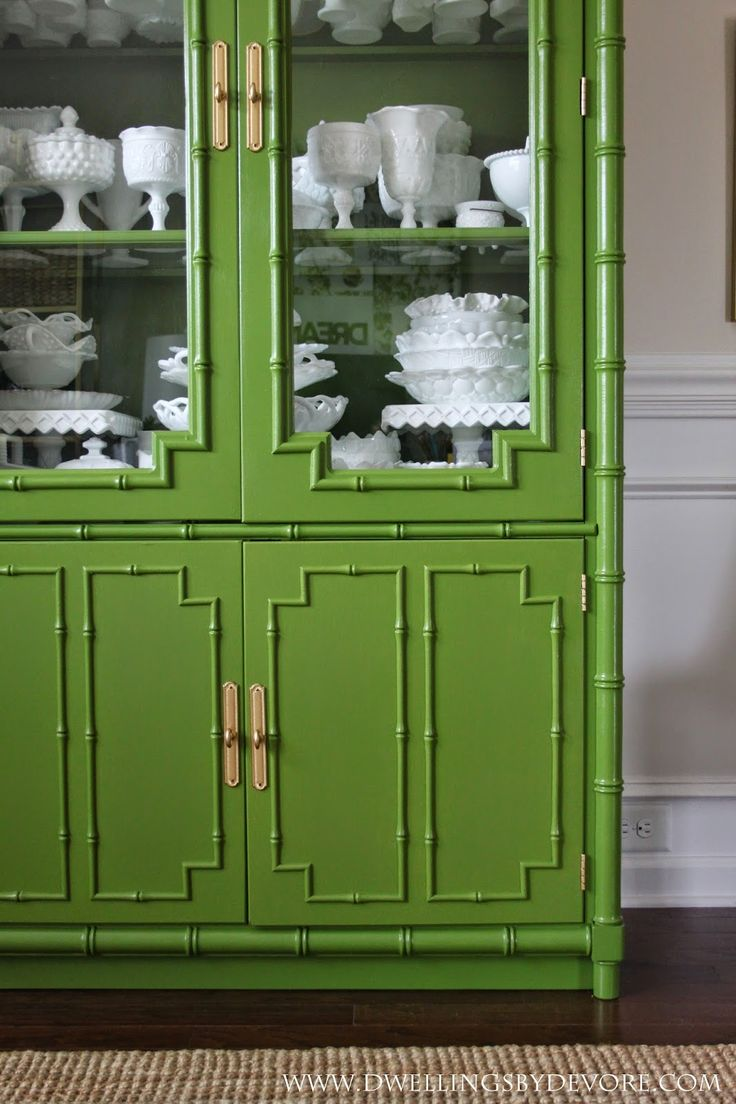 Awesome before and after bamboo hutch makeover. Paint color is Behr Moss Landing- the color is between emerald and olive. Stunning! Dwellings By DeVore:
