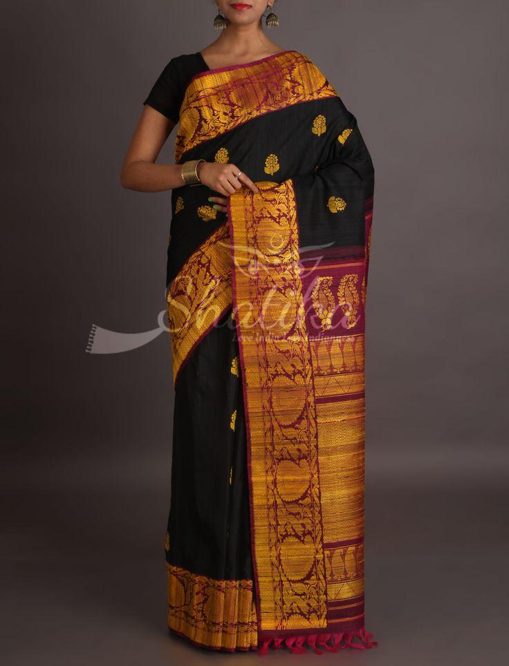 Sandhya Bold Black With Bootis Purple Ornate Border Pallu Pure Jute Silk Saree
