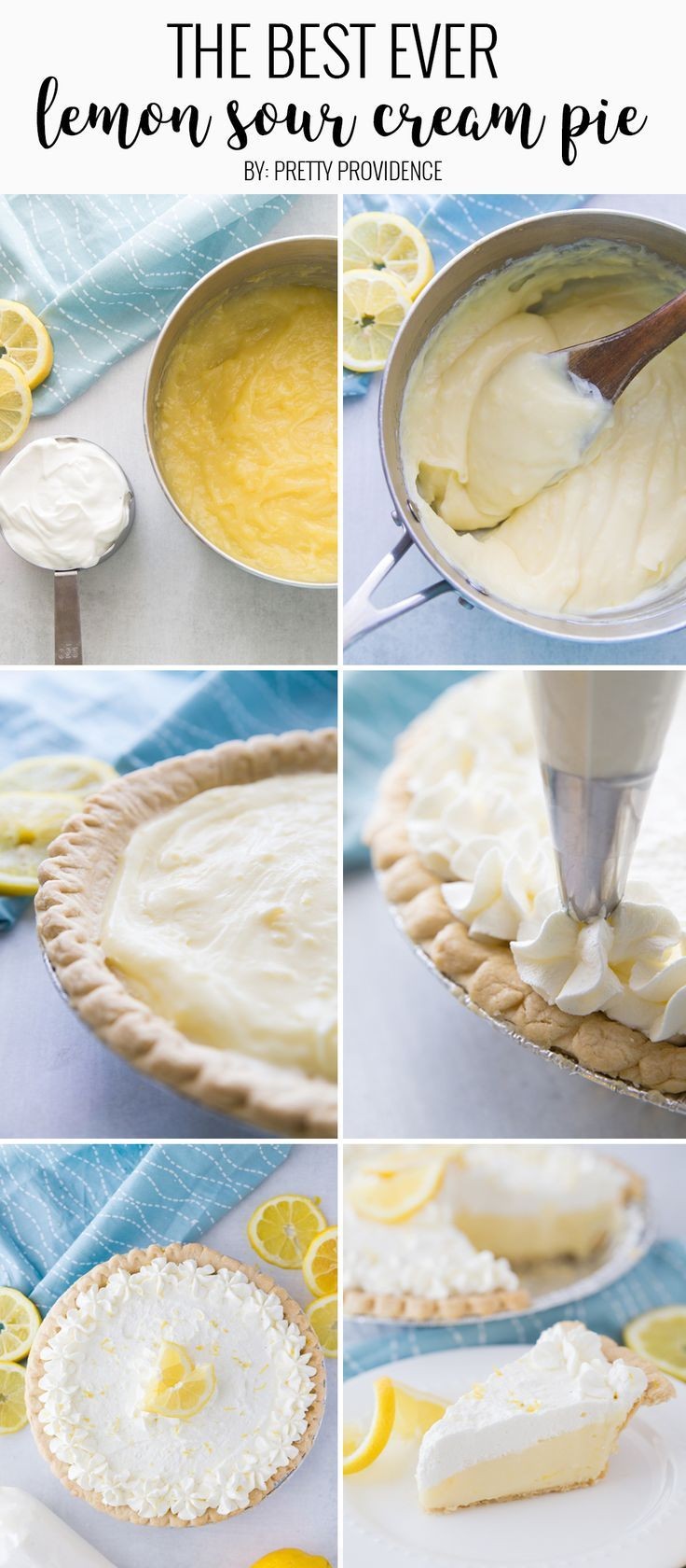 Lemon Sour Cream Pie Recipe Lemon Sour Cream Pie Cream Pie Sour Cream