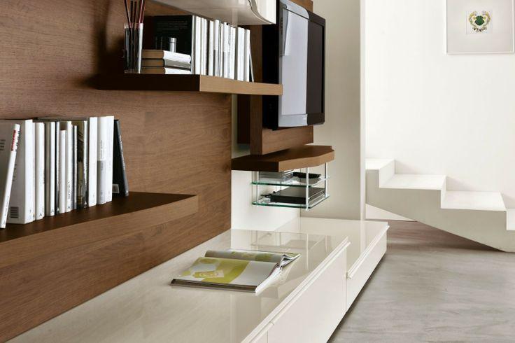 Mobile soggiorno moderno 546 in noce canaletto e laccato lucido bianco - dettaglio schienale a ...