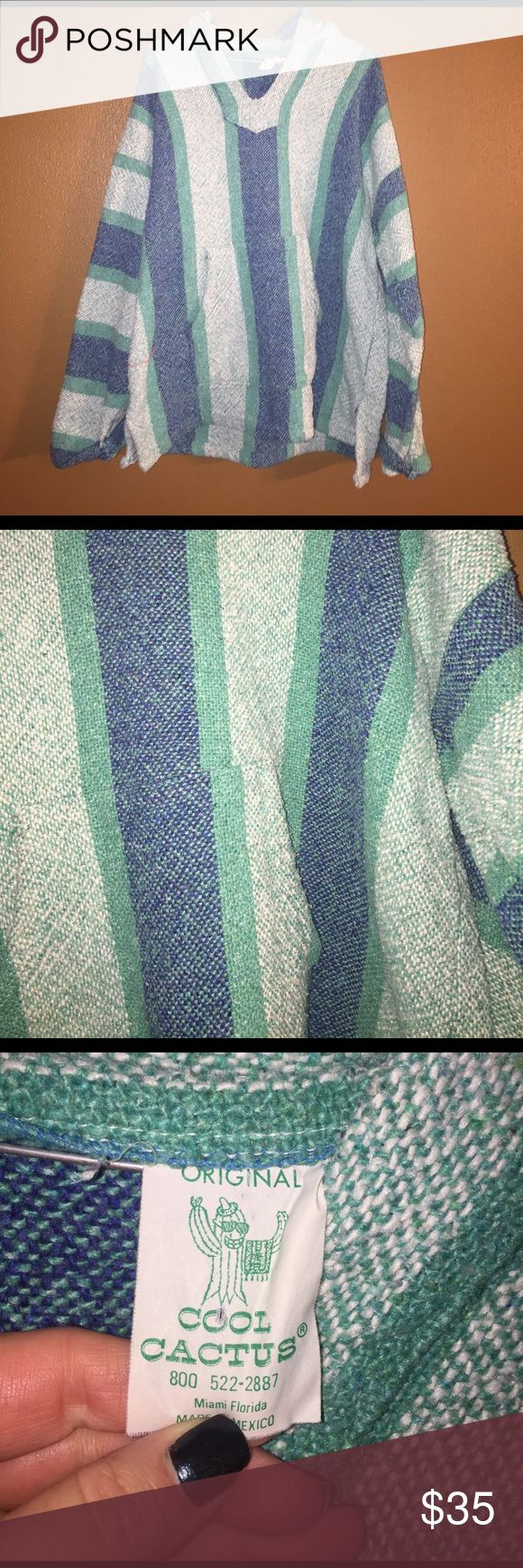 "Baja Drug Rug pullover Beautiful colors💙🏜🌊. Pullover aka ""Drug Rug"" Excellent condition! Fits large or loose medium. Hooded. Cool Cactus (Vintage) Tops Sweatshirts & Hoodies"