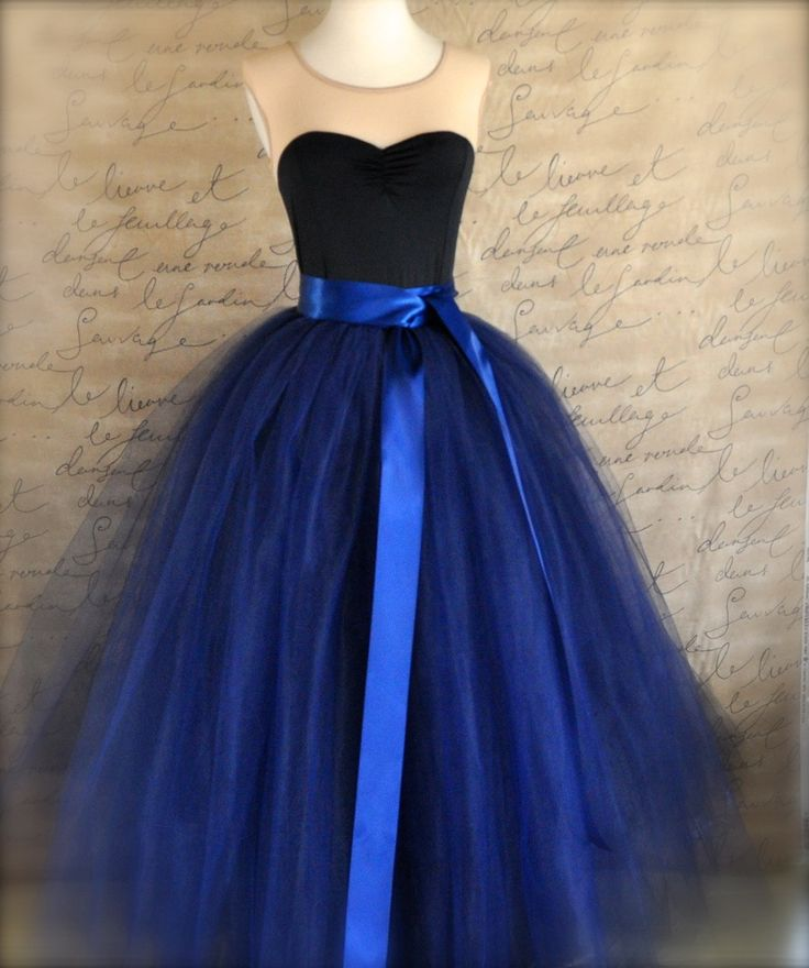 Full length navy tulle skirt. Navy tulle lined with black bridal satin for women. Weddings and formal wear..