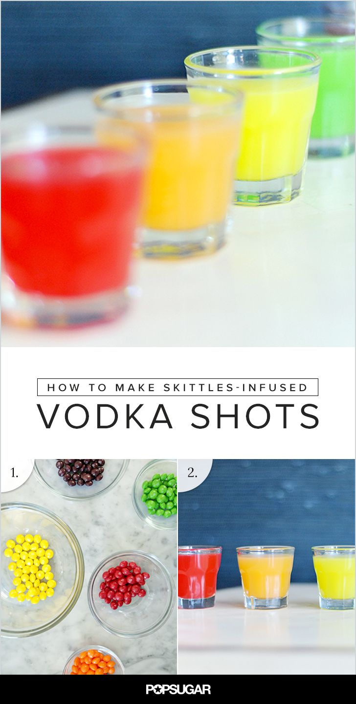 "For this year's Halloween party, serve up these sweet rainbow shots by infusing Skittles into vodka. They're so sweet and colorful that it ALMOST makes the shot-taking process easy! Don't forget to offer a bowl full of the candies as a ""chaser."""