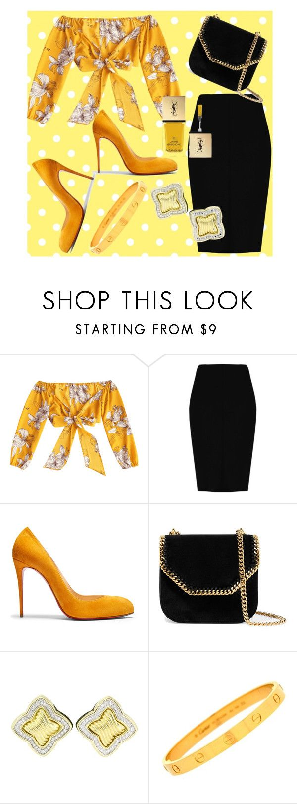"""Yellow Fever"" by nadsshoes ❤ liked on Polyvore featuring Boohoo, Christian Louboutin, STELLA McCARTNEY, David Yurman, Cartier and Yves Saint Laurent"