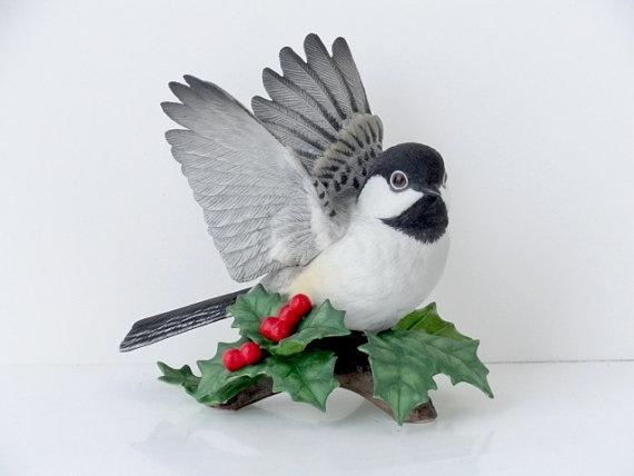Vintage lenox chickadee vintage lenox bird fine porcelaine bisque vintage bird figurine - Chickadee figurine ...