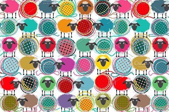 Seamless Sheep Yarn Balls Pattern. Patterns