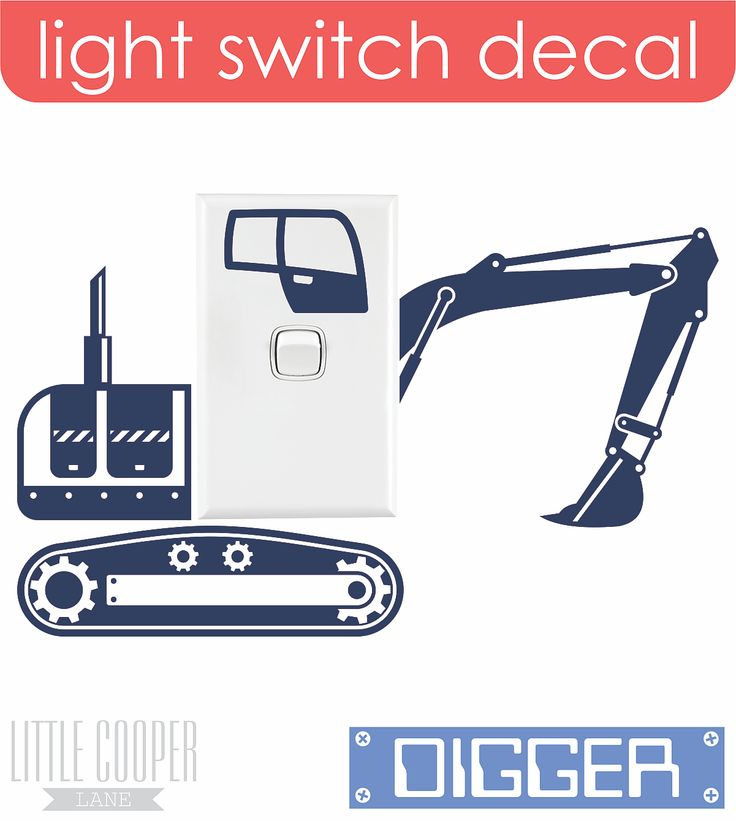 FREE POSTAGE AUSTRALIA_Move the earth with this Digger Light Switch Decal. What boy wouldn't love this!!! Removable Vinyl Wall Decal.
