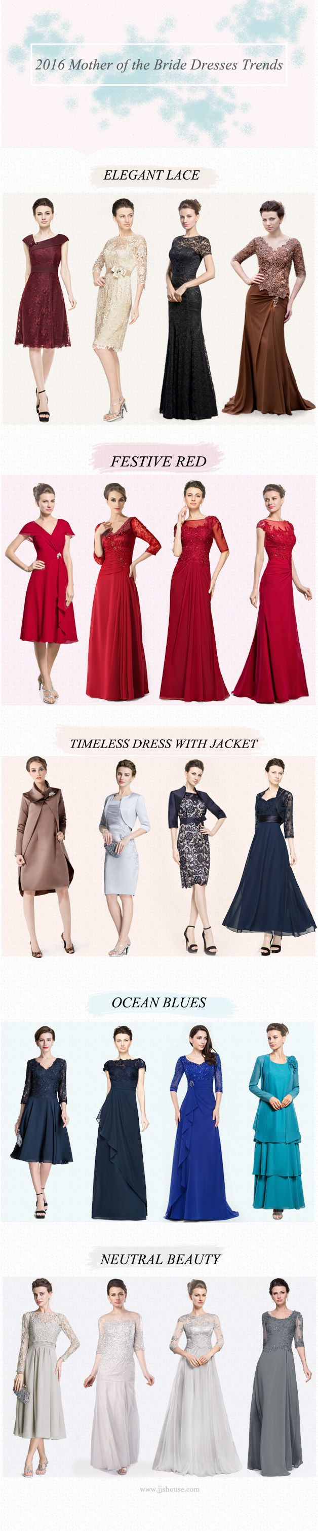 2016 Mother of the Bride Dress Trends  Different Shades to Suit Your Mood & Event Season Which is your favourite? We have all colours from Neutrals, to Pastels, to Brights. Let your dress reflect you. #JJsHouse
