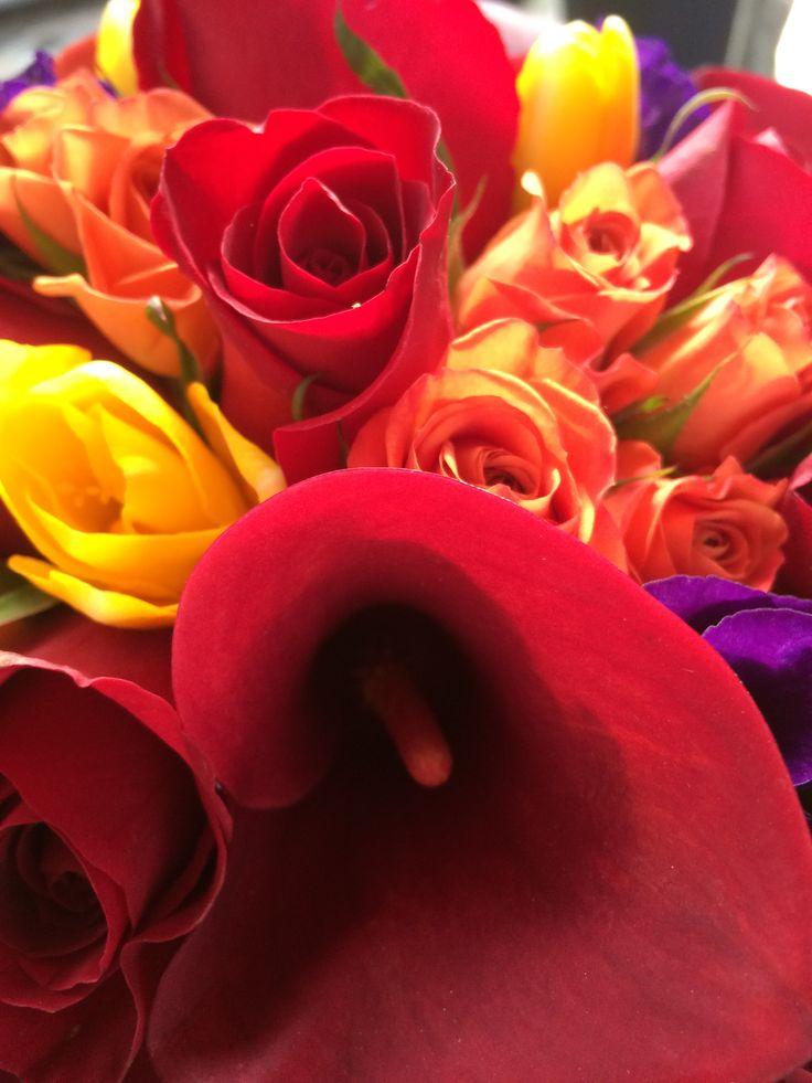 Burgundy mini callas, yellow freesia, orange mambo spray, purple lisianthus by In Full Bloom LLC