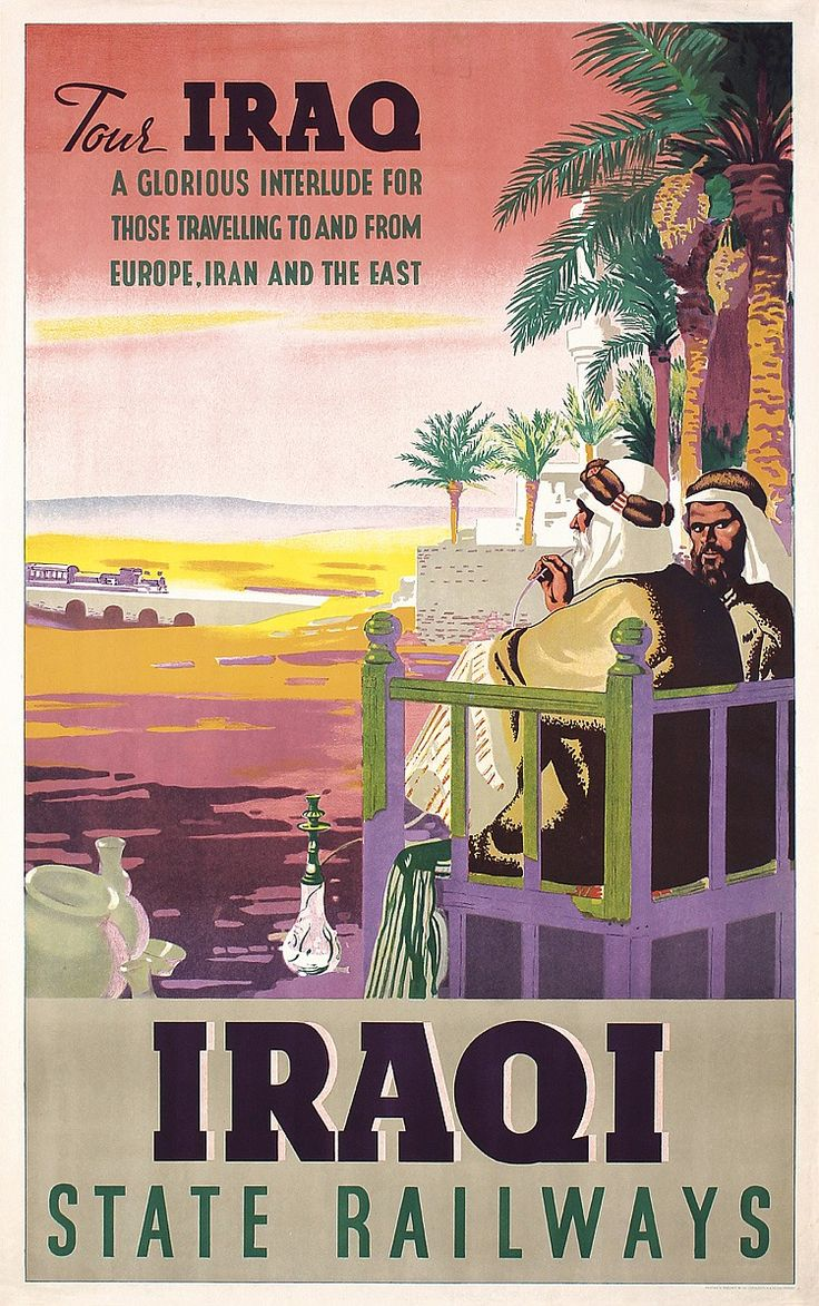 Lot 333: Rare Original 1940/50s IRAQ State Railway Travel Poster - PosterConnection Inc. | AuctionZip
