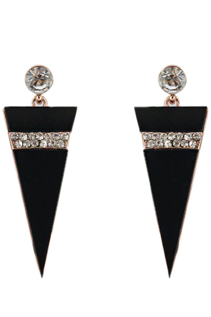 The drop earrings featuring triangel shape. Rhinestones embellishment. Post back.