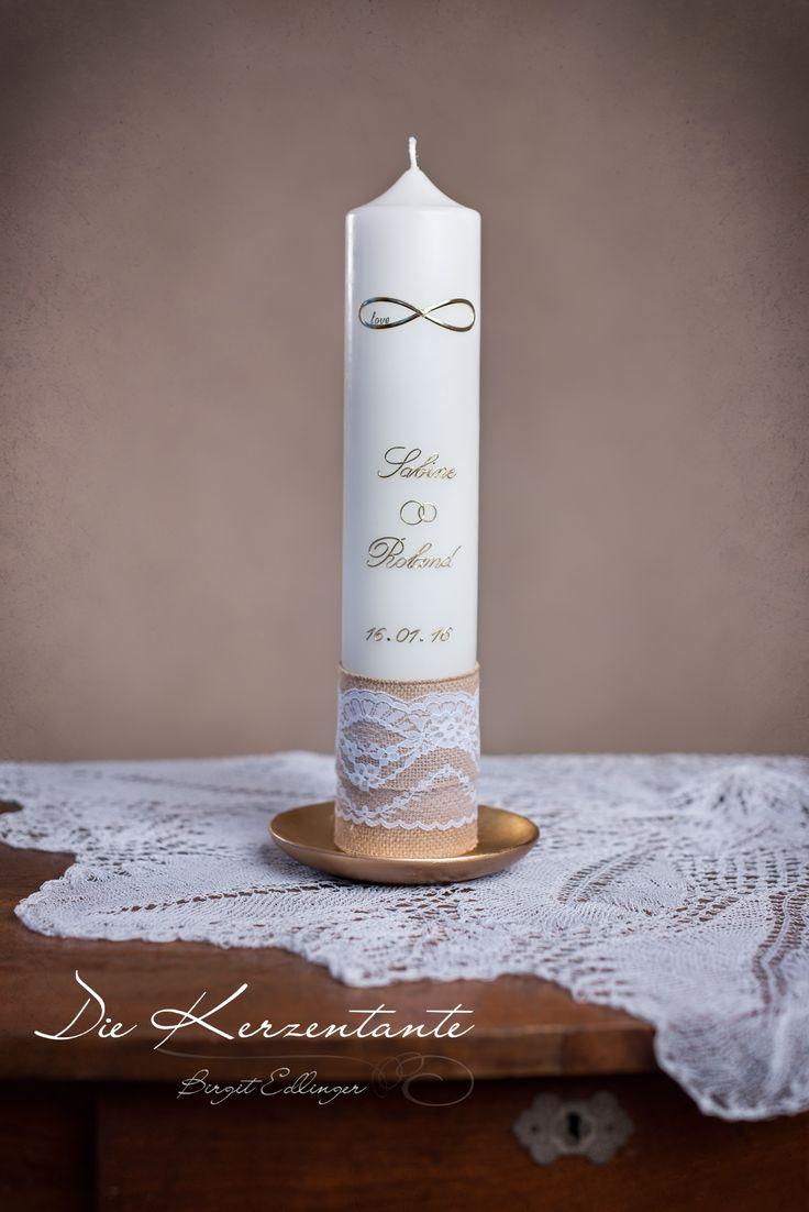 Foto: Michaela Krasnanska Hochzeitskerze, Vintage, Spitze, Wedding, gold, Unendlichkeitszeichen