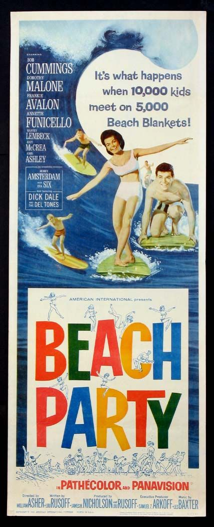 BEACH PARTY  (1963) Original insert size, 14x36 movie poster. Frankie & Annette in the first film in the series.