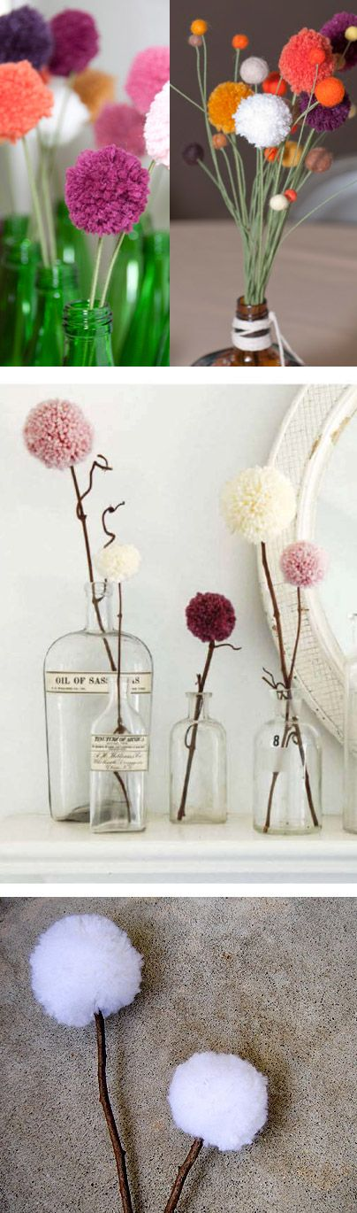 pompom-flower....so simple but I am overwhelmed by how cute they would look on my antique wooden shelves!