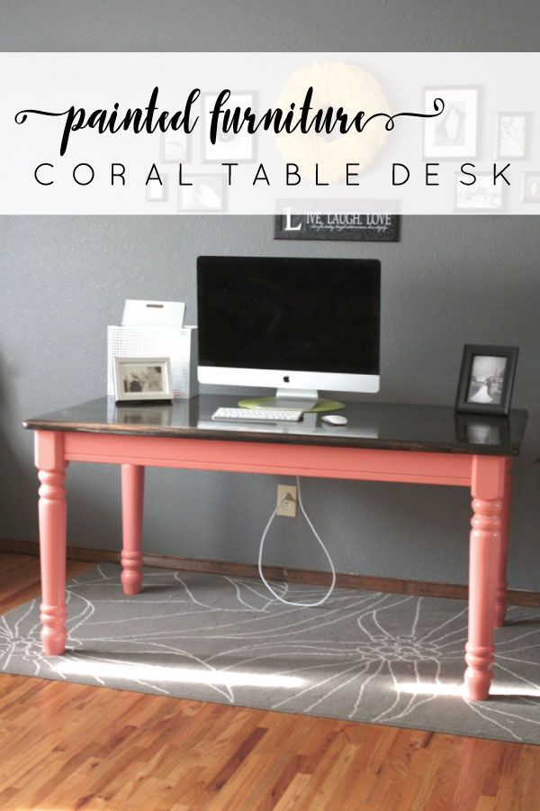 You can turn an average farmhouse table into a bold statement. With a few updates this coral table desk makes a statement! | www.mommyenvy.com