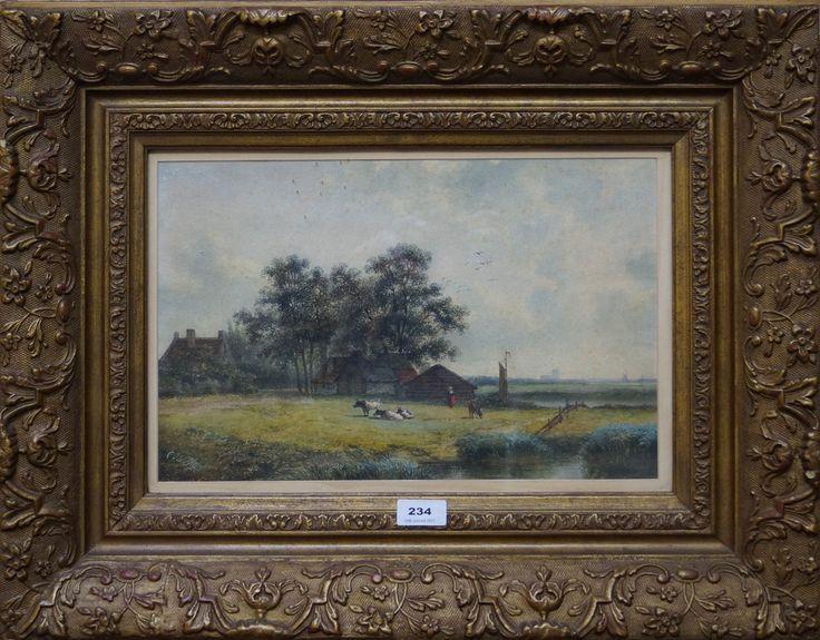 Cornelis Johannes de Vogel (1824-1879), l.o. gesigneerd, aquarel, landschap met boerderijen en koeien