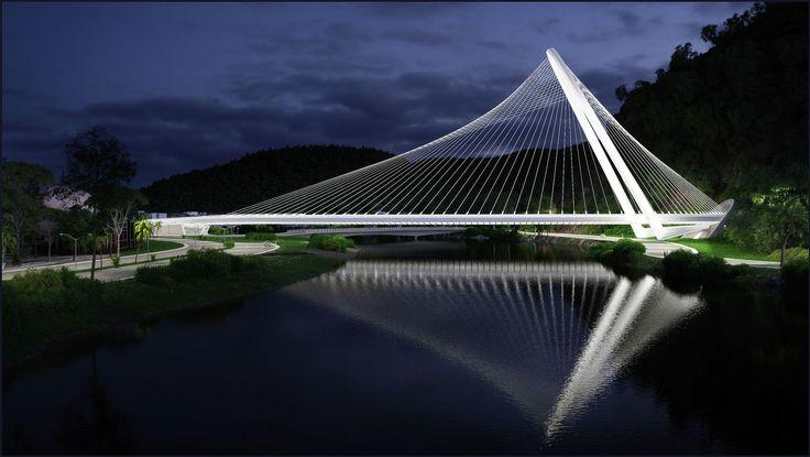 Santiago Calatrava most span Rio de Janeiro Canal de Barra, Brazil  architecture #bridge #Santiago Calatrava #Rio de Janeiro #Brazil
