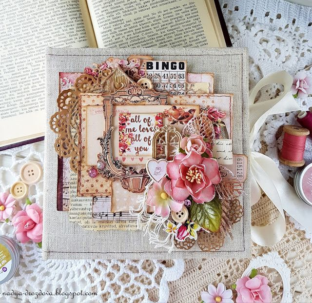 "Handmade by Nadya Drozdova: Album from ""Love clippings"" paper collection by Prima Marketing"