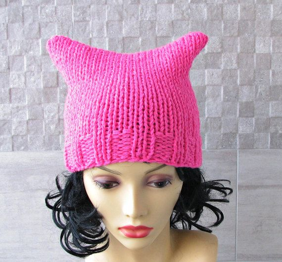 Neon Pink Pussyhat Pussy Cat Hat Feminist Hat  by AlbadoFashion