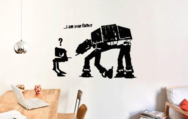 star wars hnliches streetart wandtattoo bansky wandsticker i am your father ein verlorenes. Black Bedroom Furniture Sets. Home Design Ideas