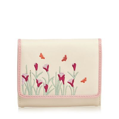 The Collection Cream butterfly embroidered medium purse | Debenhams