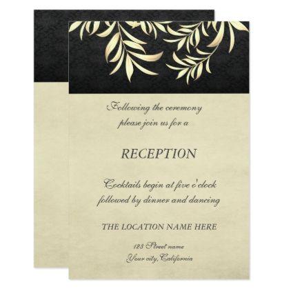 Elegant Vintage Faux Gold Leaves Wedding Reception Invitation   Zazzle.com